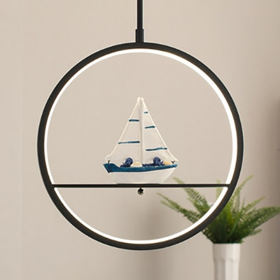 Simple Style Ring Pendant Lamp with Cartoon Pattern Metal Hanging Light in Black for Study Room