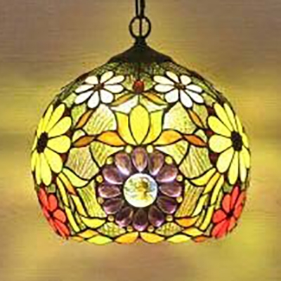 Tiffany Vintage Floral Hanging Light One Light Stained Glass Pendant Light for Restaurant