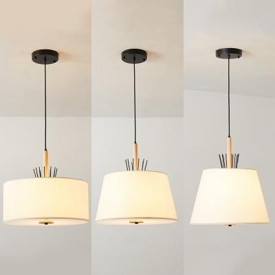Traditional Drum Shade Pendant Lamp 4 Lights Fabric Suspension Light