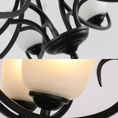 Traditional Flower Shape Chandelier 3/6/8 Lights Metal and Frosted Glass Ceiling Light in Black