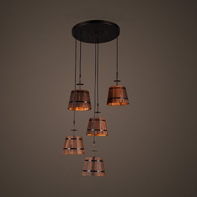 Vintage Brown Pendant Lamp Barrel 4 Lights Wood Suspension Light with Linear/Round Canopy for Bar