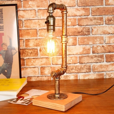 Vintage Water Pipe Table Light One Light Metal Plug In Reading Light in Bronze for Cafe Bar