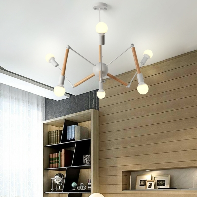 Wood Spider Chandelier 6/8/10 Lights Contemporary Candy Colored Hanging Light for Child Bedroom