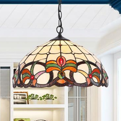 1 Light Floral Theme Hanging Light Tiffany Rustic Style Stained Glass Ceiling Pendant for Restaurant