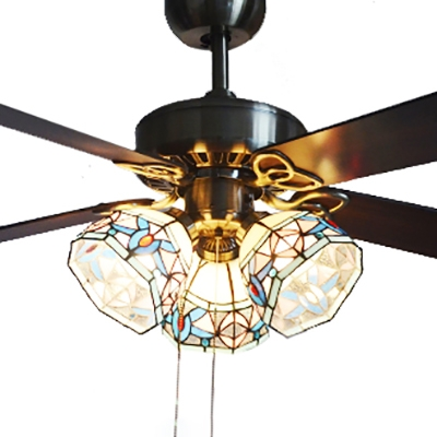 36 42 Inch Dome Ceiling Fan 3 Lights Tiffany Antique Glass Semi Ceiling Mount Light For Dining Room Beautifulhalo Com