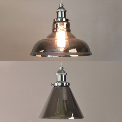 Smoke Gray Barn/Funnel Hanging Light 1 Light Antique Style Glass Ceiling Pendant for Dinning Table, HL534176