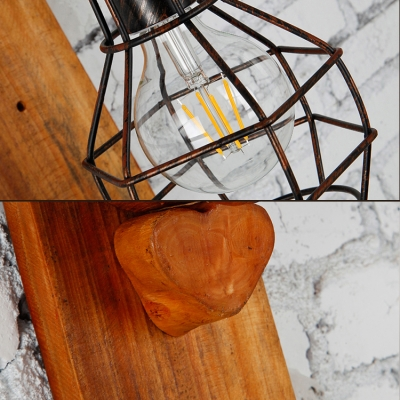 Metal Bulb Cage Wall Light 1 Light Antique Style Hanging Wall Lamp in Brown for Restaurant