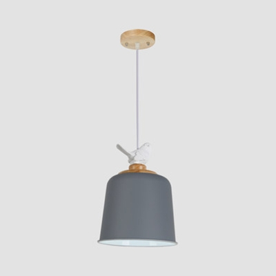 One Light Bell Shade Hanging Light with Bird Modern Macaron Metal Pendant Lamp in Black/Gray/White for Balcony