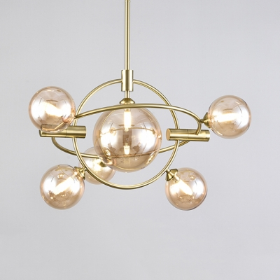 Amber/Clear/Smoke Glass Chandelier with Orb Shade Living Room 6/12 Heads Elegant Style Pendant Lamp in Gold