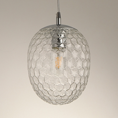 Pineapple Shaped Pendant Light Bedroom 1 Light Modern Amber/Clear/Smoke Glass Hanging Light
