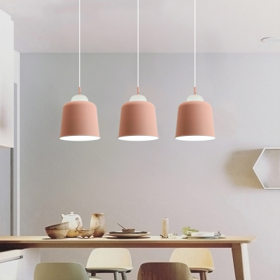 Aluminum & Glass Trapezoid Hanging Light Dining Table 1 Light Nordic Stylish Pendant Lamp in Blue/Green/Pink/Yellow
