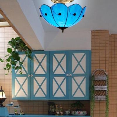 Antique Style Umbrella Semi Flush Mount Light Glass Blue Inverted Ceiling Fixture for Hallway