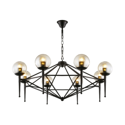 Antique Stylish Black Pendant Light with Spherical Shade 6/8 Lights Metal Chandelier for Dining Table