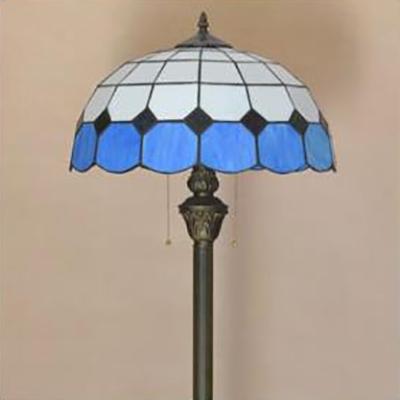 Baroque/Lattice Dome Floor Lamp 1 Light Tiffany Antique Standing Light for Living Room