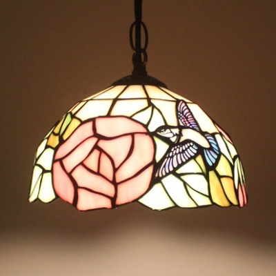 Bird & Rose Hallway Pendant Light Stained Glass One Light Tiffany Antique Ceiling Pendant