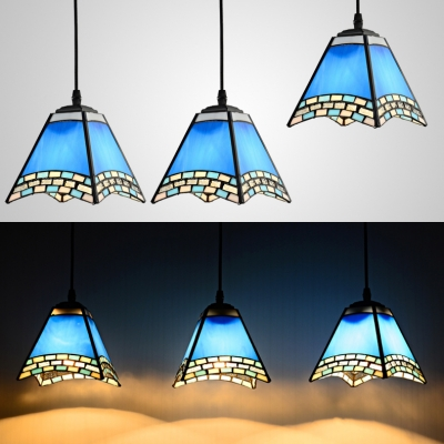 Blue Craftsman Pendant Light 3 Heads Nautical Style Glass Ceiling Light for Study Room