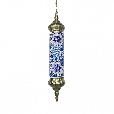 Blue/Red/Yellow Flute Pendant Light 1 Light Moroccan Glass Hanging Light for Restaurant Pack of 1/3(Random Color Delivery)