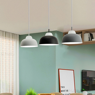 Bowl/Trapezoid Shade Kitchen Pendant Light Metal 1 Light Simple Style Ceiling Pendant in Black/Gray/White