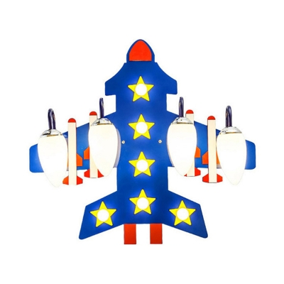 Boy Bedroom Airplane Ceiling Light Wood Creative Blue Flush Mount Light with Star