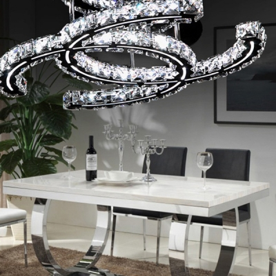 Brilliant Design Double Crystal Rings Flush Mount Lighting Shine with Sparkling Crystal Beads White Light
