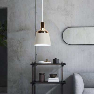 Bucket Living Room Pendant Light Metal 3 Lights Modern Stylish Ceiling Pendant in Black/Gray/White