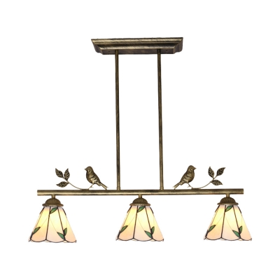 Cafe Restaurant Cone Chandelier with Leaf & Bird Glass 3 Lights Rustic Style Island Pendant