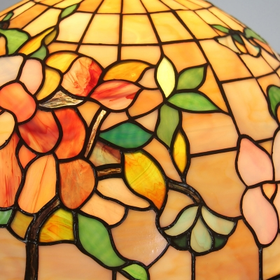 Dining Room Floral Theme Ceiling Pendant Stained Glass Tiffany Rustic 16 Inch Hanging Light