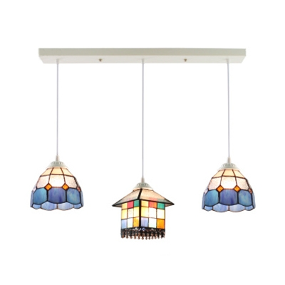 Dome&House/House Pendant Light Cloth Shop Stained Glass 2/3 Lights Tiffany Vintage Island Lamp