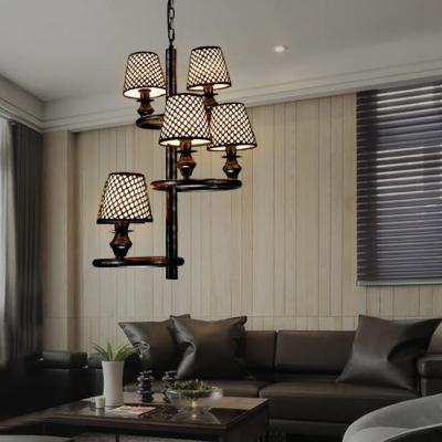 Fabric Tapered Shade Chandelier 6 Lights Traditional Lattice Pendant Lamp for Restaurant Bar