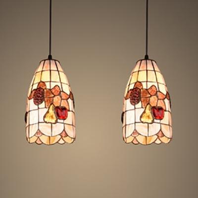 Flower Fruit Kitchen Pendant Light Shell 2 Lights Tiffany Rustic