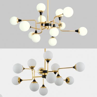 Frosted Glass Orb Chandelier Hotel Restaurant 12 Lights Elegant Style Pendant Light in Gold