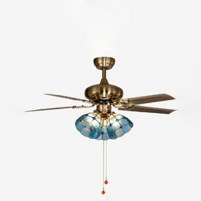 Glass Dome Semi Flushmount Light Dining Room 3 Heads Pull Chain/Remote Control/Wall Control Ceiling Fan