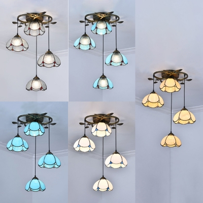 Glass Domed Shade Pendant Light Tiffany Vintage Metal Pendant Lamp with Brass Canopy for Shop
