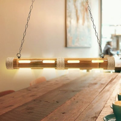 Hollow Tube Dining Room Island Light Bamboo Rustic Style Island Pendant in Beige