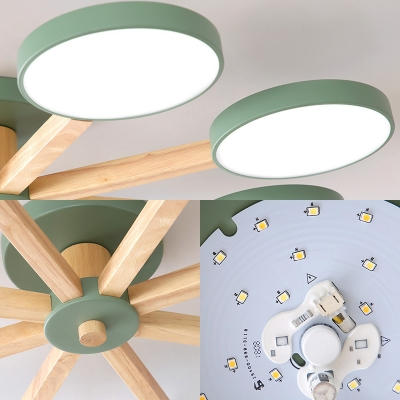 Macaron Colored Snowflake Ceiling Fixture 8 Lights Acrylic Semi Flush Light in White/Warm for Living Room