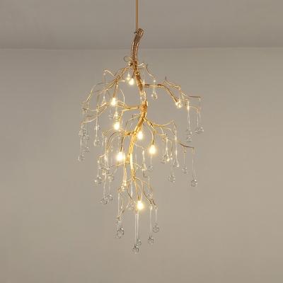 Metal Twig Pendant Lamp with Teardrop Crystal Restaurant 4/6/9 Lights Elegant Style Chandelier in Gold