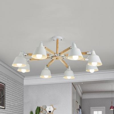 Modern Bell Shade Hanging Light 6/8 Lights Metal Chandelier in Green/White for Living Room