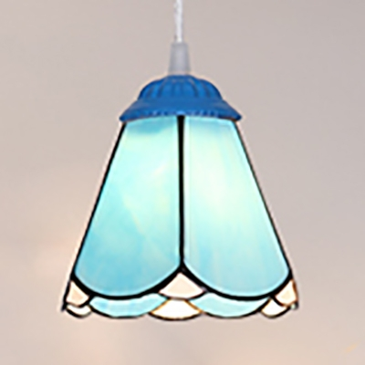 Modern Style Cone Ceiling Light Glass 1 Light Hanging Light with Chain in Blue for Dining Room