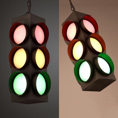 Restaurant Traffic Light Hanging Lamp Metal 3 Heads Creative Green & Red & Yellow Pendant Light