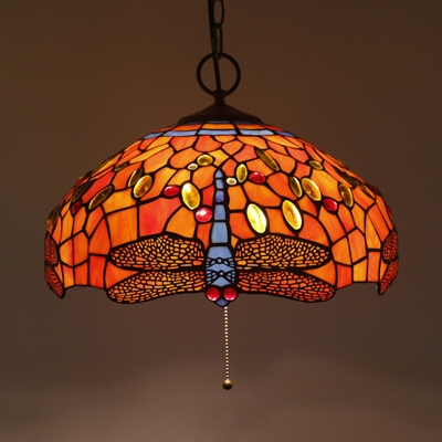 Rustic Style Dragonfly Hanging Light with Pull Chain Stained Glass Pendant Light for Restaurant