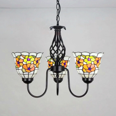 Stained Glass Flower Chandelier Bedroom Hallway 3 Lights Tiffany Style Rustic Pendant Light