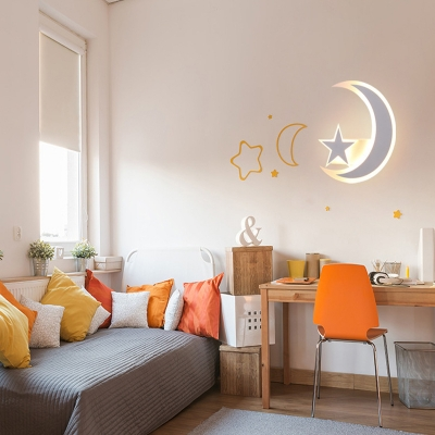 Star Moon Bedroom Hallway Wall Light Acrylic Lovely White Sconce Light In Warm White Beautifulhalo Com