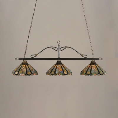 Tiffany Antique Flower/Peacock Island Pendant Stained Glass 3 Lights Island Chandelier for Living Room