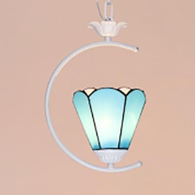Tiffany Modern Pendant Light Glass One Light Dark Blue/Sky Blue/White Ceiling Light for Bedroom