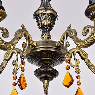Tiffany Style Blue/Yellow Chandelier with Crystal Craftsman 5 Lights Glass Hanging Light for Villa