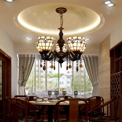 Tiffany Style Dome Chandelier with Crystal Glass 5 Lights White Hanging Light for Dining Room