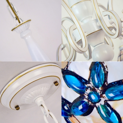 Tiffany Style Floral Chandelier Shell 3/6/8 Lights Beige Suspension Light for Bedroom Bathroom