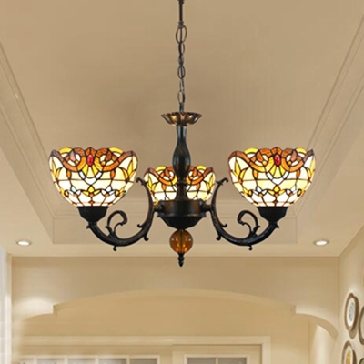 Tiffany Style Victorian Chandelier Dome Shade 3 Lights Stained Glass Hanging Light for Hallway