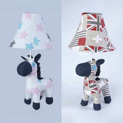 Toy Pony Child Bedroom Desk Light with Maple/Star Fabric 1 Light