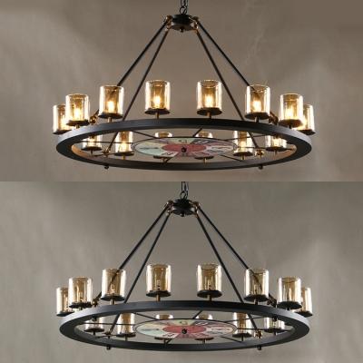 Traditional Round Chandelier 12/16 Lights Metal Pendant Lighting in Black for Living Room